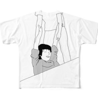 机の下にはまるじまさん Full graphic T-shirts