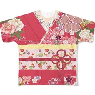 着物柄(振袖風)赤 -桜- Full graphic T-shirts