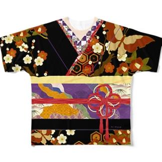 着物柄(振袖風)黒 -椿- Full graphic T-shirts