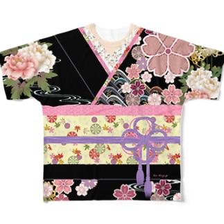 着物柄(振袖風)黒 -桜- Full graphic T-shirts