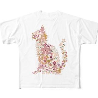 桜猫 Full graphic T-shirts