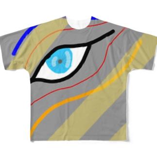 睨み フルグラフィックTシャツ