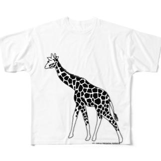 きりん(モノクロ) Full graphic T-shirts