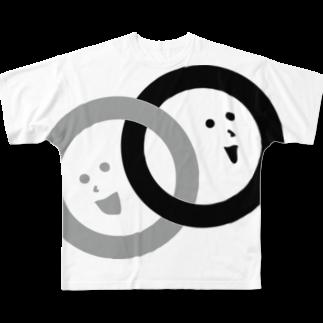 ロゴラボのつながる丸のロゴマーク Full graphic T-shirts