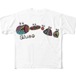 aiueoカラフル フルグラフィックTシャツ