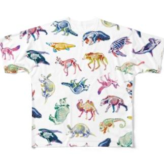 どうぶつのホネ[pattern-A] Full graphic T-shirts