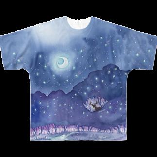 Rosemary*Teaの星降る森 Full graphic T-shirts