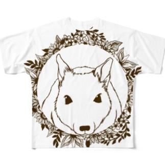 モノクロリース*デグー フルグラフィックTシャツ