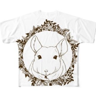 モノクロリース*チンチラ フルグラフィックTシャツ