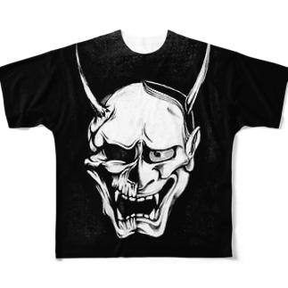 般若スカル (Half ver) Full graphic T-shirts