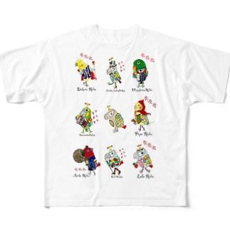 ROBOBO 鳥図 フルグラフィックTシャツ