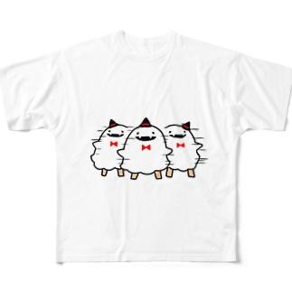反復横跳びなオバケ Full graphic T-shirts