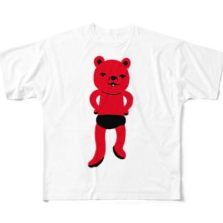 潔い姿の熊(赤) フルグラフィックTシャツ