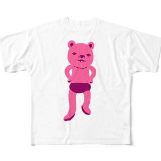 潔い姿の熊(ピンク) フルグラフィックTシャツ
