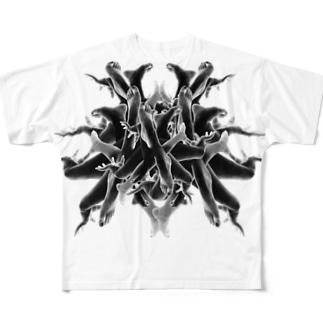 おぼれ フルグラフィックTシャツ