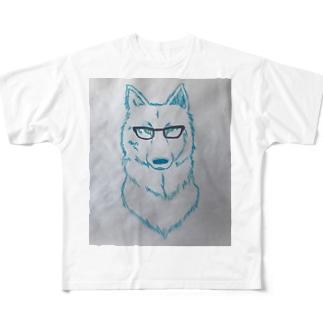 黒ぶちメガネと狼くん 手描きイラストトップス Full graphic T-shirts