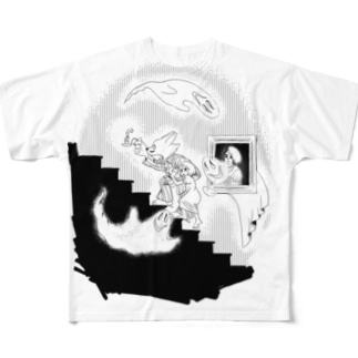 お化け屋敷 Full graphic T-shirts