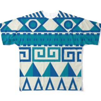 民族 柄 青 フルグラフィックTシャツ