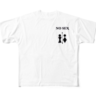 NO SEX ロゴ Full graphic T-shirts
