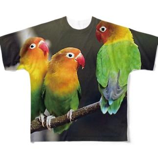 ルリゴシボタンインコ フルグラフィックTシャツ