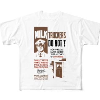 Vintage Health Poster:ヴィンテージ 健康ポスター Full graphic T-shirts