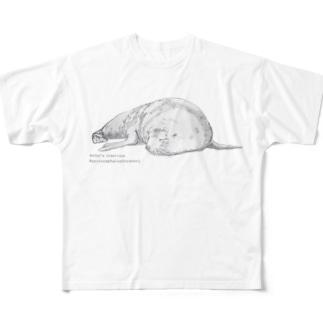 果報は寝て待て(ニュージーランドオットセイ) Full graphic T-shirts