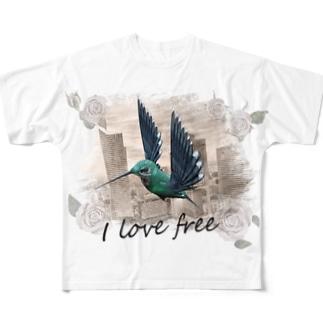 I love free Full graphic T-shirts
