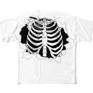 「肋骨見えてますよ?」 Full graphic T-shirts