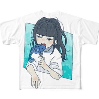 お魚と女の子 Full graphic T-shirts