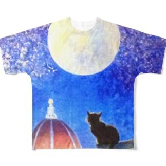 月夜猫2 Full graphic T-shirts