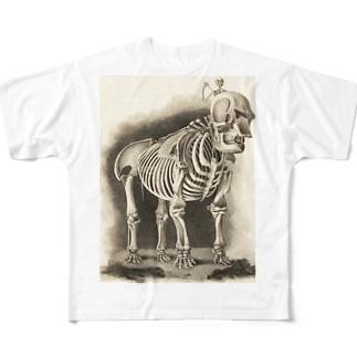 銅版画による人体骸骨 Full graphic T-shirts