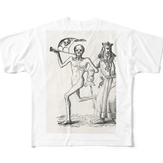 ホルバインの死の舞踏と聖書の木版画 フルグラフィックTシャツ