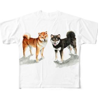 茶黒しばいぬTシャツ フルグラフィックTシャツ