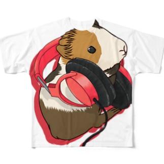 ヘッドフォンモルモット レッド フルグラフィックTシャツ