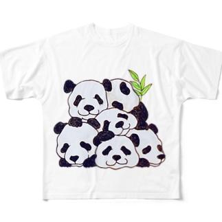 てんこ盛りパンダ フルグラフィックTシャツ