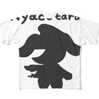 にゃこたろうシルエットグレー Full graphic T-shirts