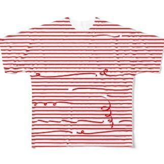 Red Stripes 2 フルグラフィックTシャツ