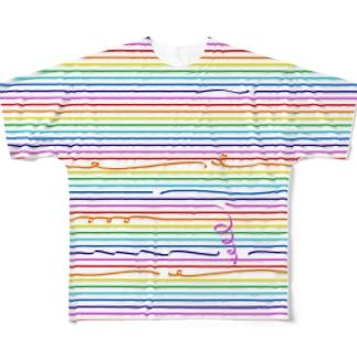 レインボーなストライプ 2 フルグラフィックTシャツ
