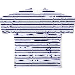 Navy Stripes 2 Full graphic T-shirts