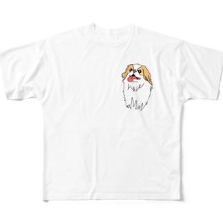 絵になるお嬢、椿(狆) Full graphic T-shirts