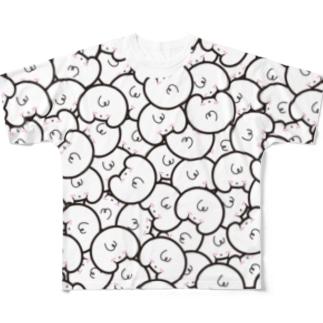 「オシリかカオかちゃん」 総柄 襟白ブラック フルグラフィックTシャツ