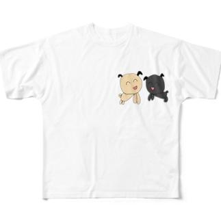 ぱぐちゃん ふたり Full graphic T-shirts