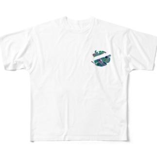 ブルー(丸) Full graphic T-shirts
