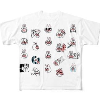 うさぎのササキづくし Full graphic T-shirts