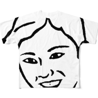 微笑みおばさん Full graphic T-shirts