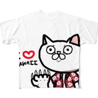 処すねこハワイTシャツ(赤) Tシャツ Full graphic T-shirts