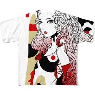 Japan red フルグラフィックTシャツ