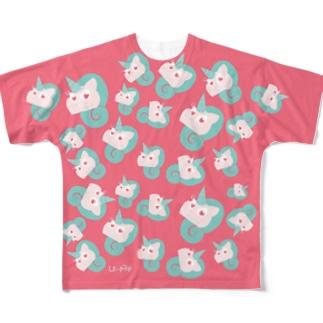 ユニコーン柄物Tシャツ Full graphic T-shirts