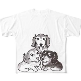 ダックス三兄弟 フルグラフィックTシャツ