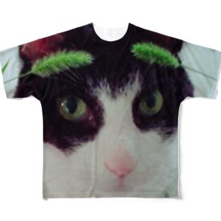 猫じゃらしとまろ Full graphic T-shirts